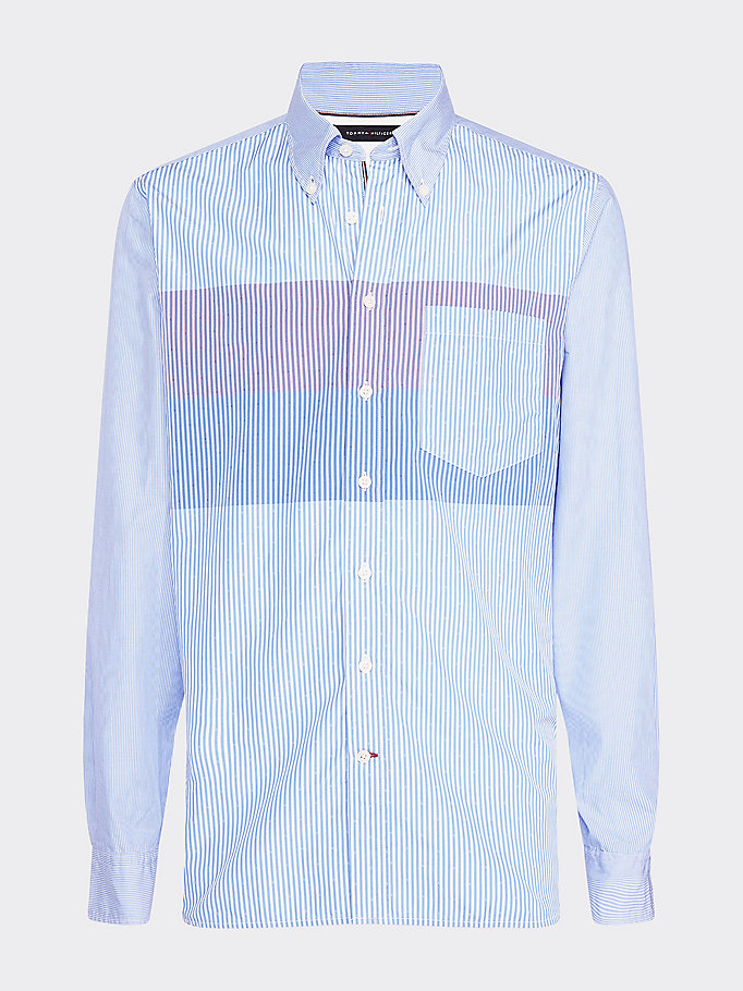 blue regular fit mixed stripe print shirt for men tommy hilfiger