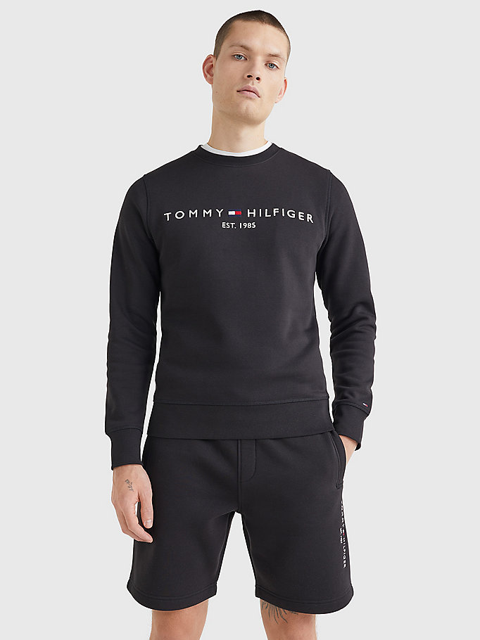 black th flex logo sweatshirt for men tommy hilfiger