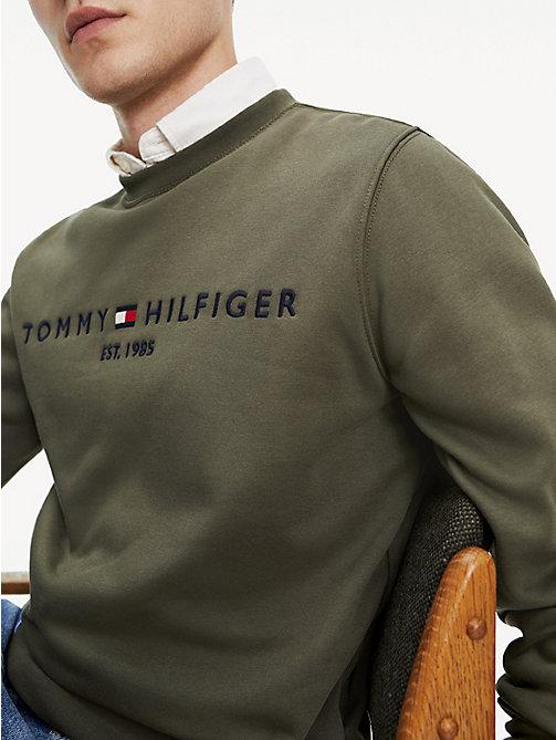 994d577e green organic cotton blend logo sweatshirt for men tommy hilfiger