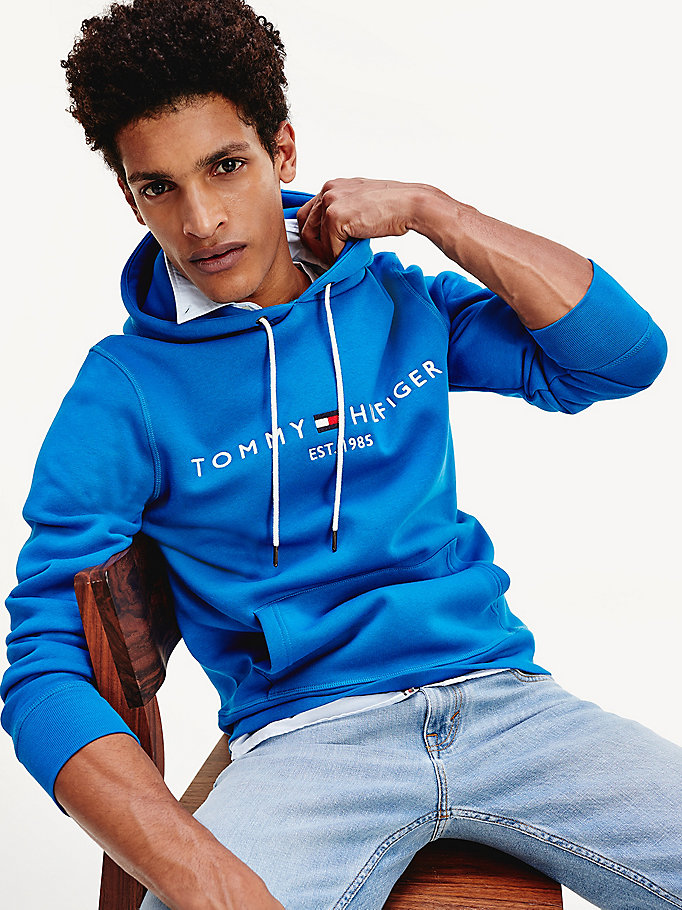 blue th flex fleece hoody for men tommy hilfiger