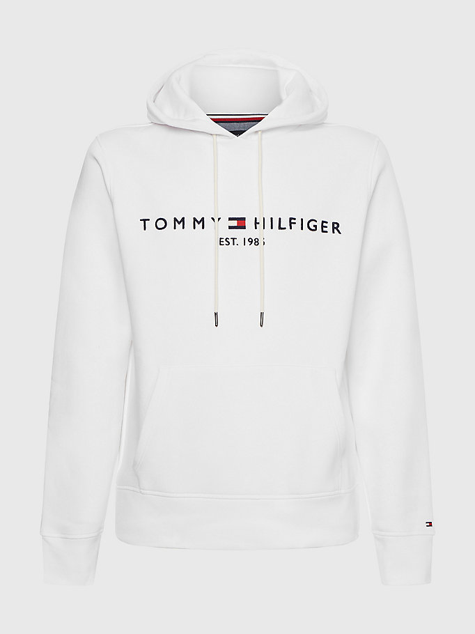 white th flex fleece hoody for men tommy hilfiger