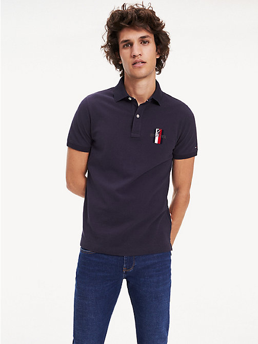 c651b501 blue embroidered pure cotton slim fit polo for men tommy hilfiger