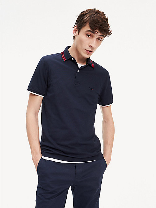 0051e40a blue contrast textured stripe slim fit polo for men tommy hilfiger