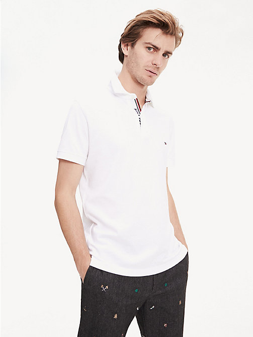 b9cfed8b white logo placket regular fit cotton polo for men tommy hilfiger