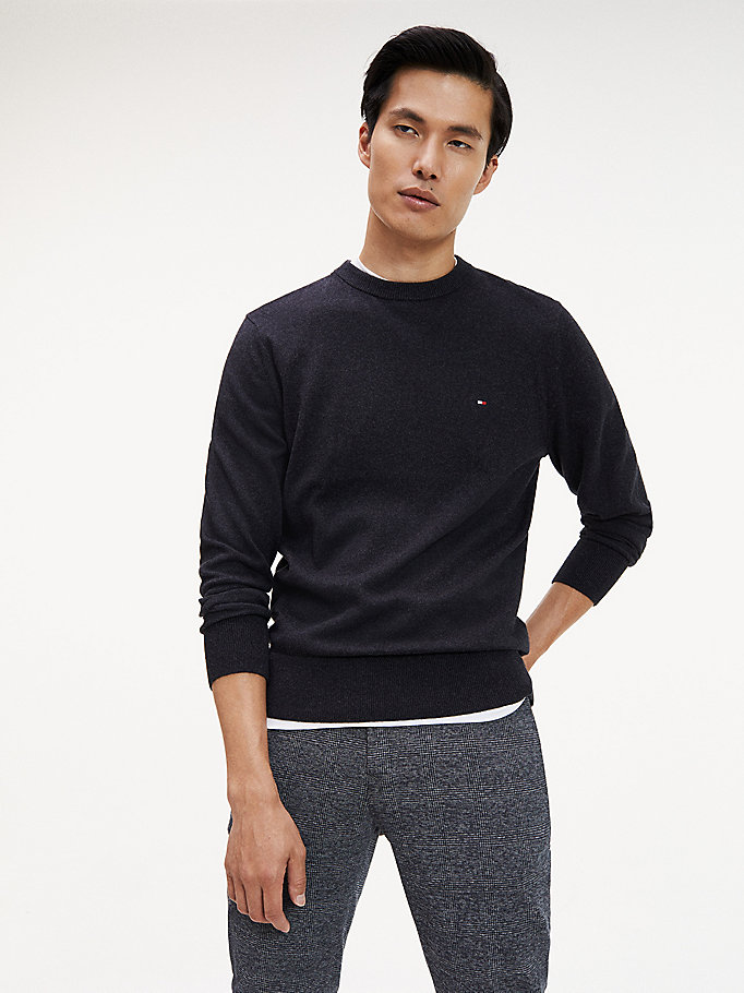 black pima cotton cashmere crew neck jumper for men tommy hilfiger