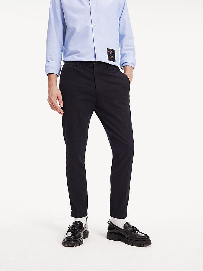 blue tapered check cotton trousers for men tommy hilfiger