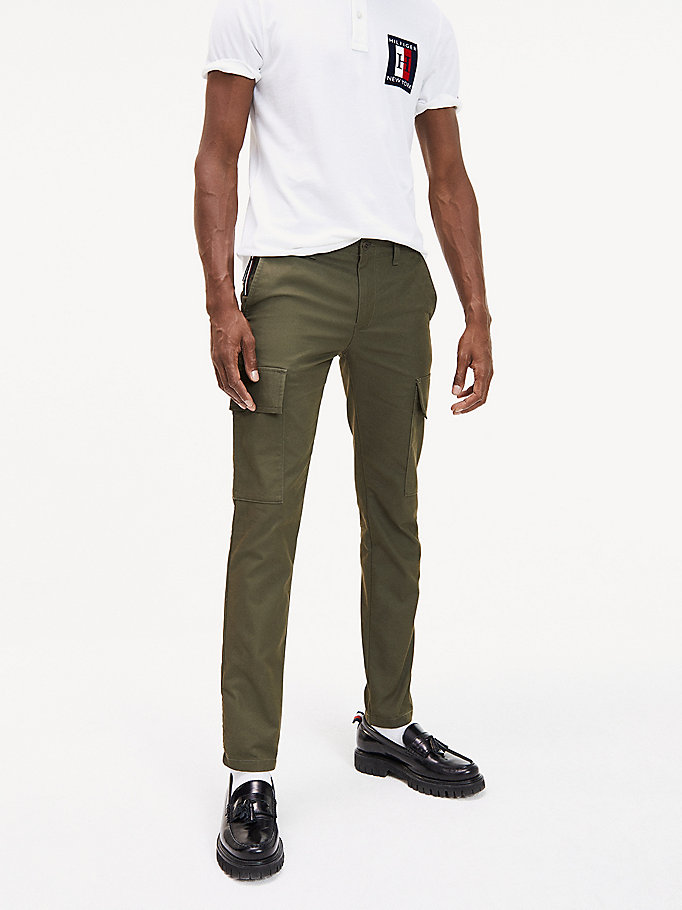 green cool tommy th flex cargo trousers for men tommy hilfiger