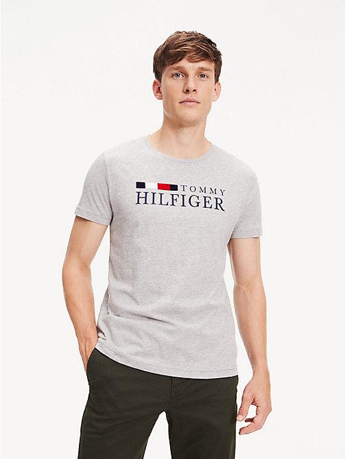 709471cd2c grey regular fit t-shirt aus bio-baumwolle für herren - tommy hilfiger