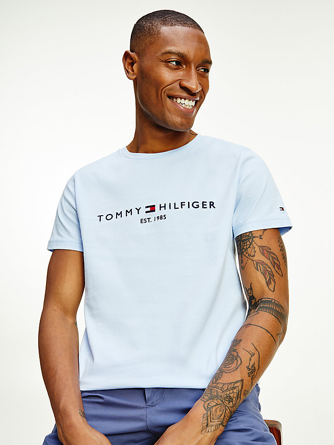 blue organic cotton logo t-shirt for men tommy hilfiger
