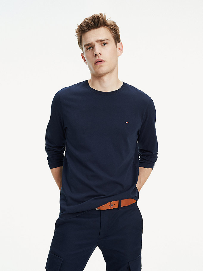 blue essential organic cotton long sleeve t-shirt for men tommy hilfiger