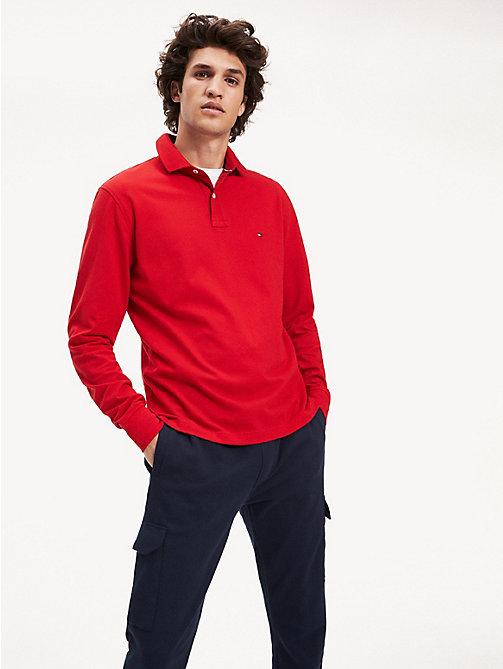 Style Vintage 2018 Tommy Hilfiger Homme Rouge Polo en coton