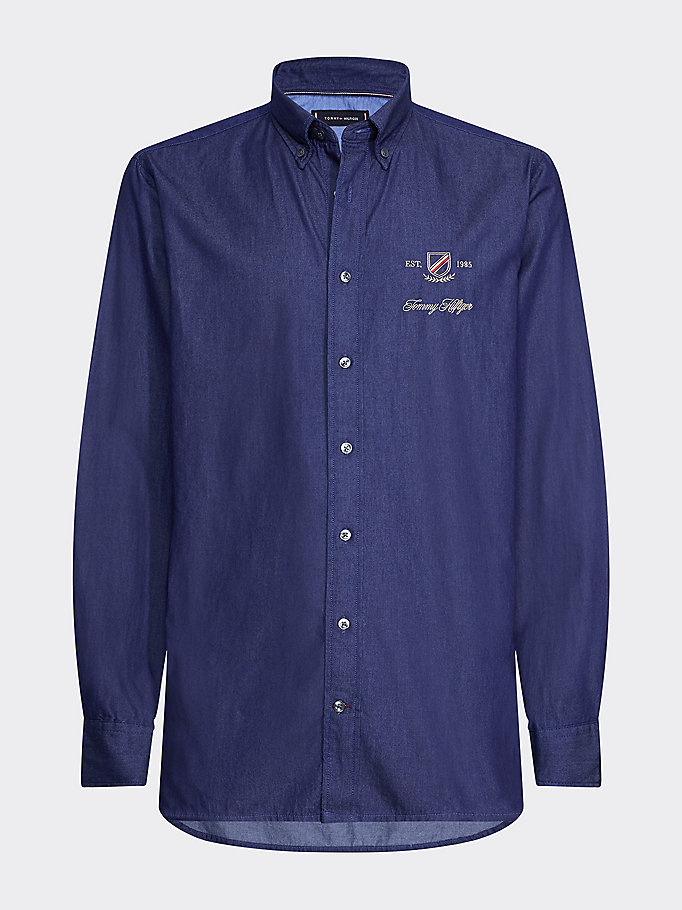 denim regular fit embroidered crest denim shirt for men tommy hilfiger