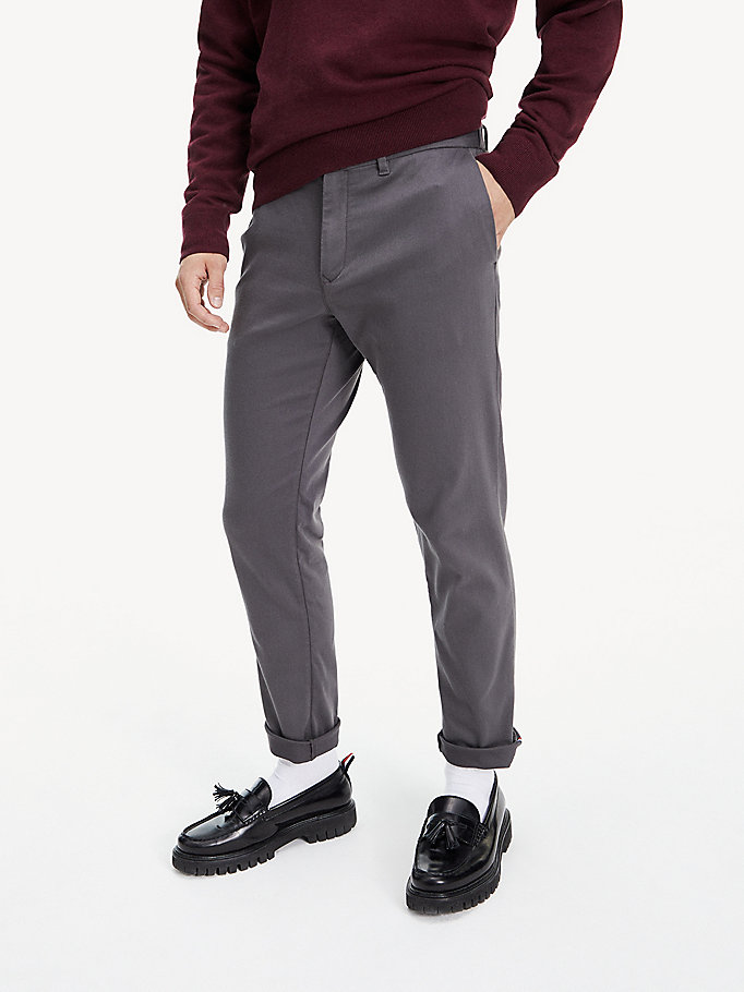 grey th flex tapered trousers for men tommy hilfiger