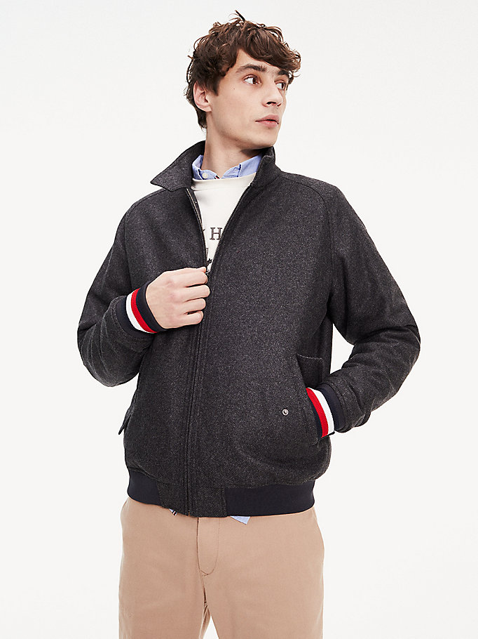 grey wool jacket for men tommy hilfiger