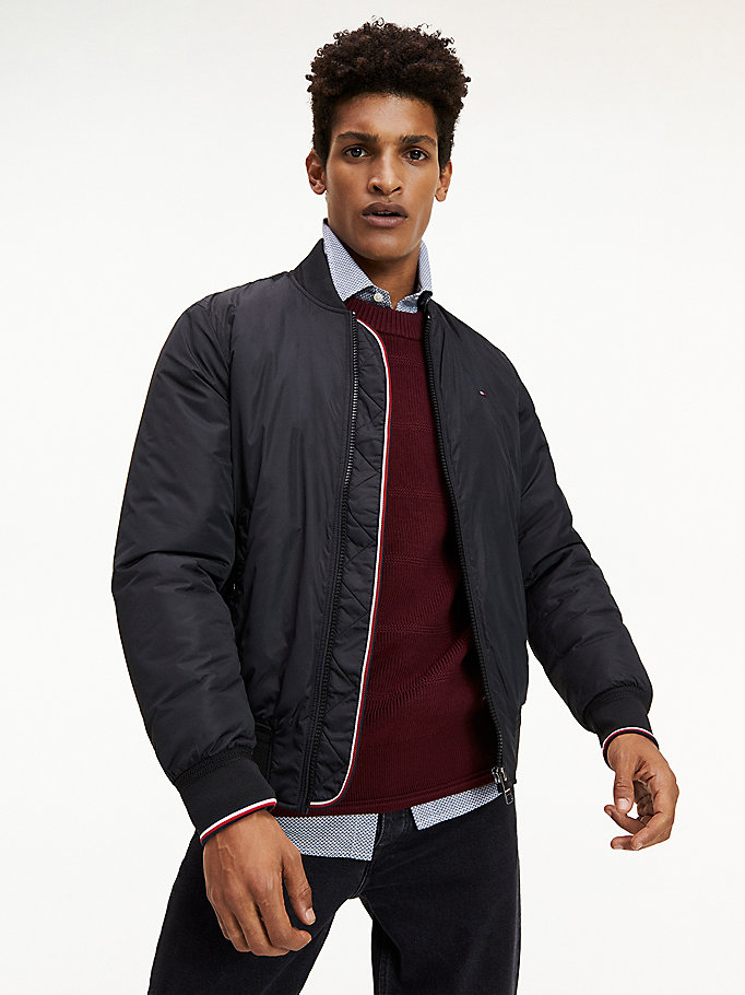 black padded bomber jacket for men tommy hilfiger