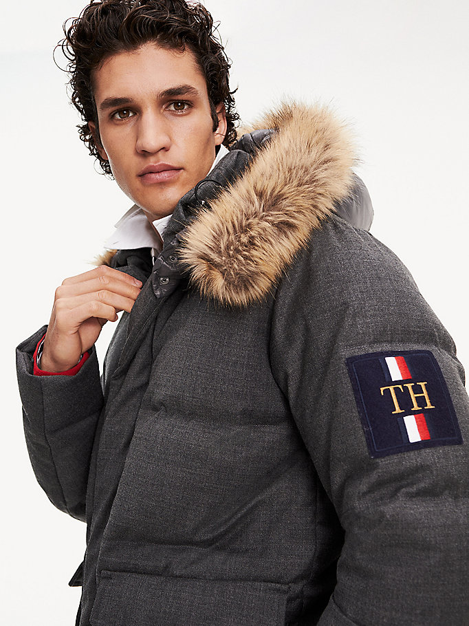 grey icon faux fur hooded puffer jacket for men tommy hilfiger