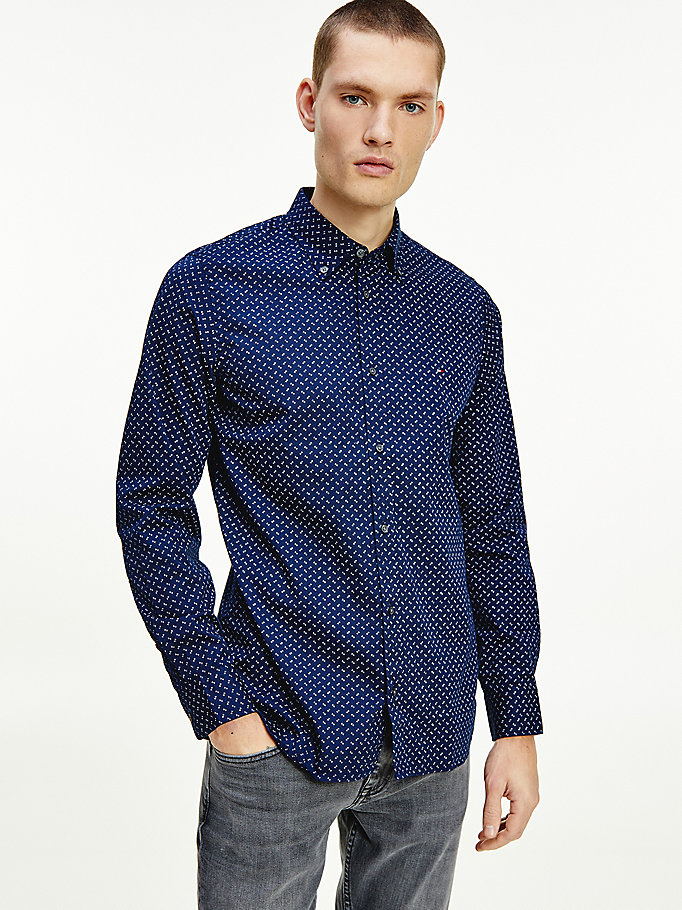 blue geometric print slim fit shirt for men tommy hilfiger