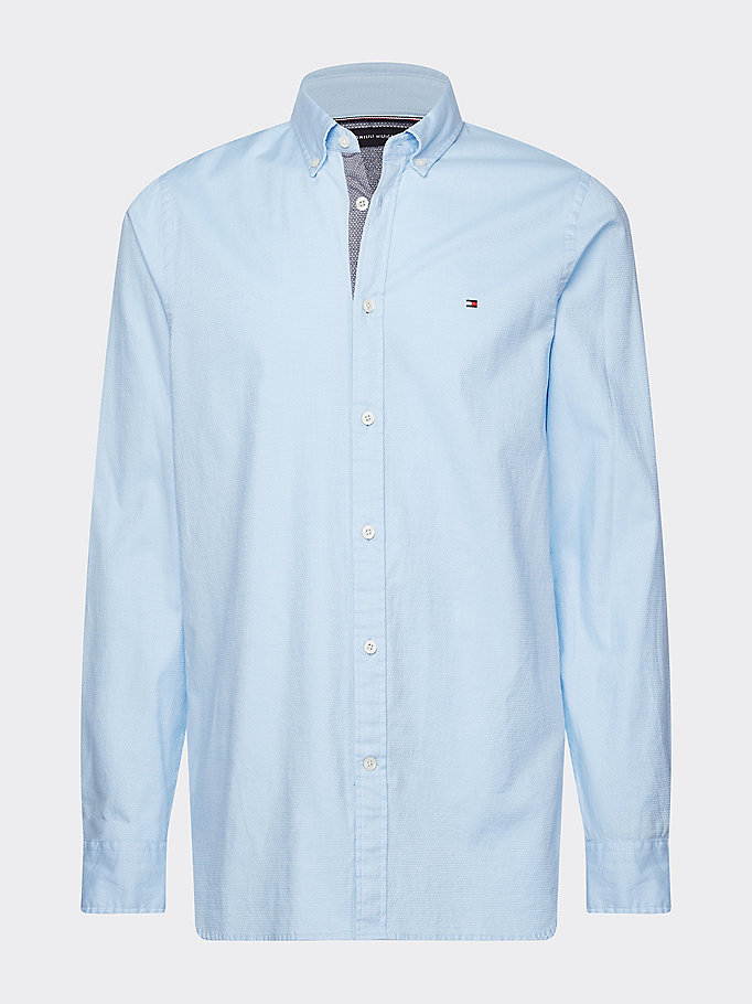 blue th flex slim fit dobby shirt for men tommy hilfiger