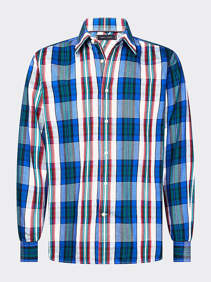 blue shadow check shirt for men tommy hilfiger