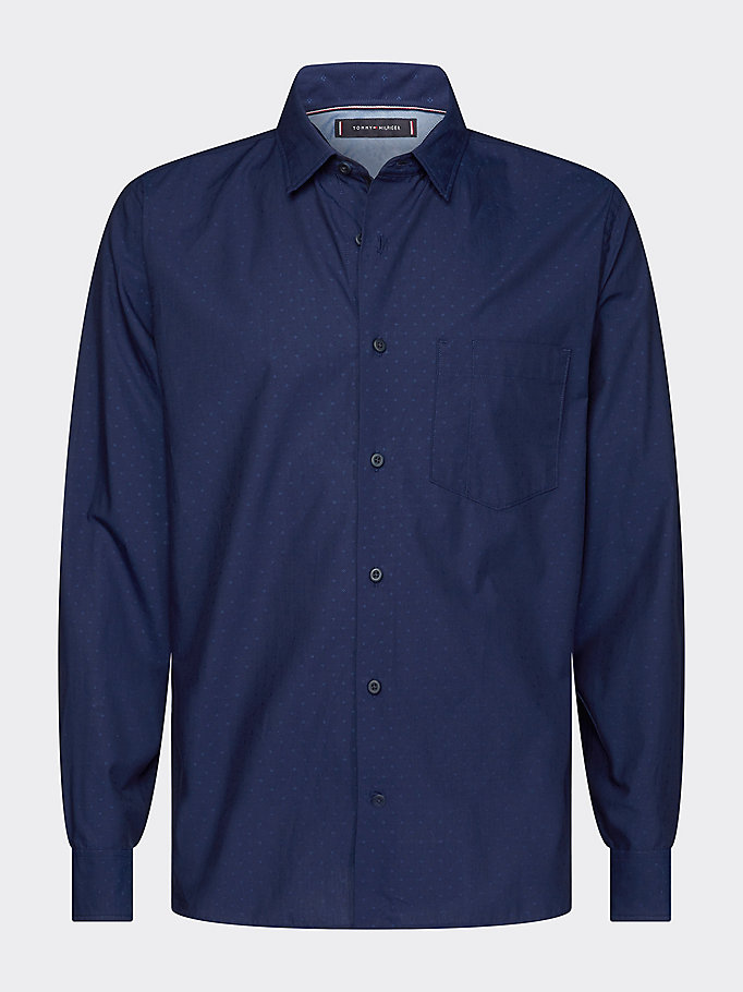 blue th flex dobby shirt for men tommy hilfiger