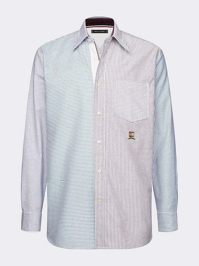 blue mixed stripe relaxed fit shirt for men tommy hilfiger