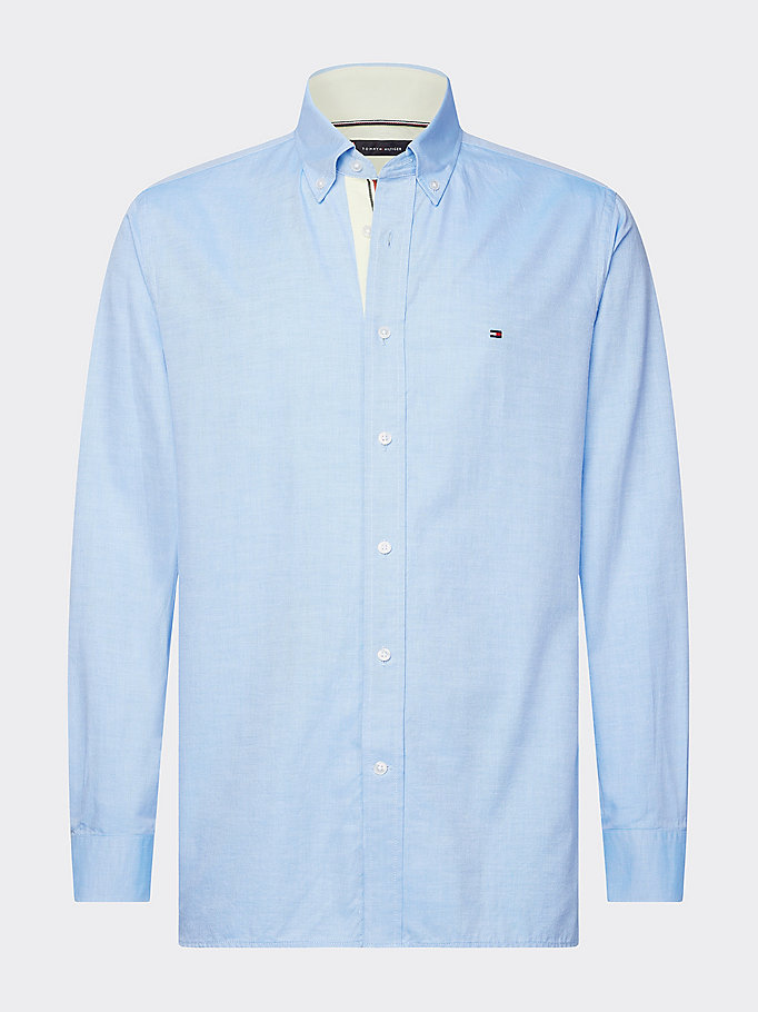 blue contrast trim cotton twill shirt for men tommy hilfiger