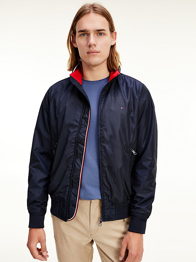 blue tipped collar bomber jacket for men tommy hilfiger