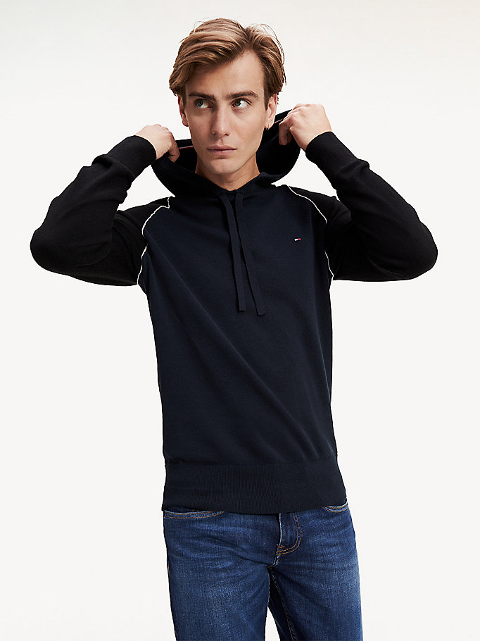 blue pure cotton raglan sleeve hoody for men tommy hilfiger