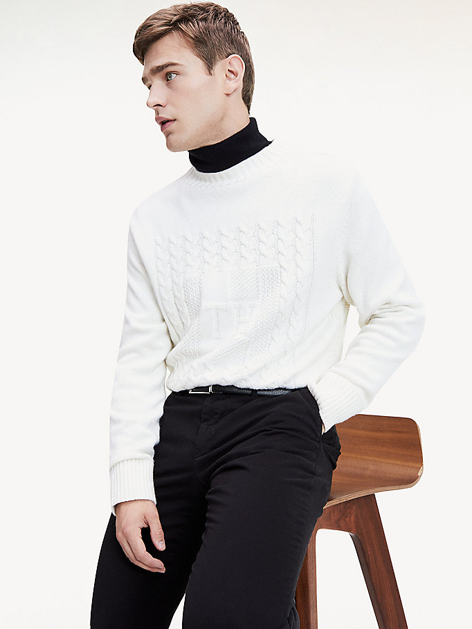 white monogram cable knit jumper for men tommy hilfiger