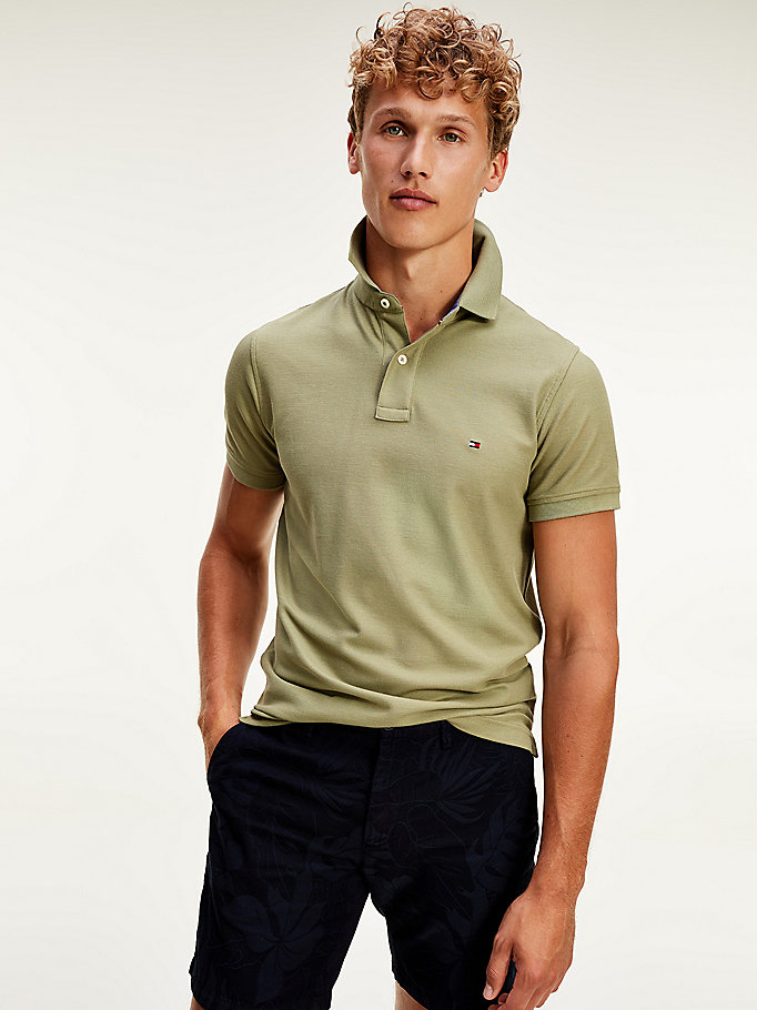 polo hilfiger slim fit in puro cotone verde da men tommy hilfiger