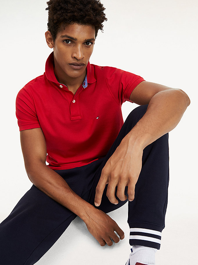 red pure cotton slim fit hilfiger polo for men tommy hilfiger