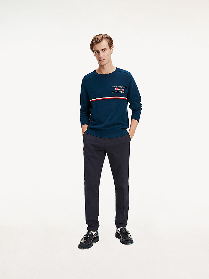 blue th flex tapered fit chinos for men tommy hilfiger