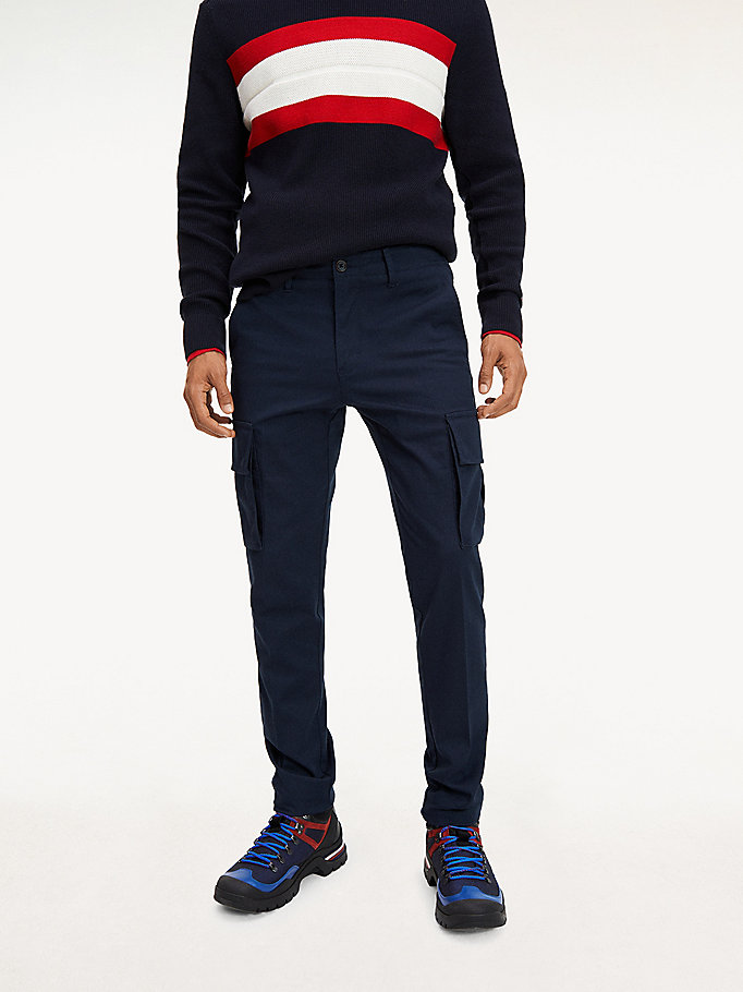 blue bleecker slim fit cargo trousers for men tommy hilfiger
