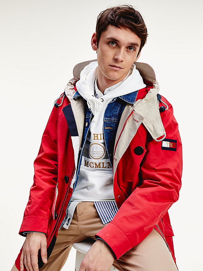red icons hooded parka for men tommy hilfiger