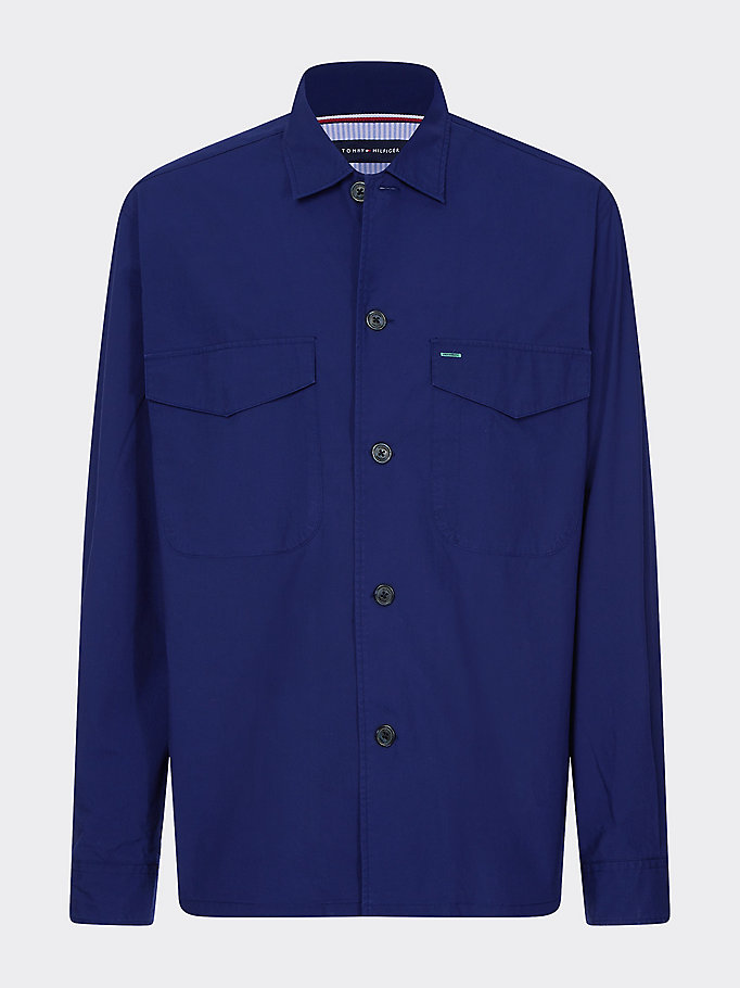 blue military style pure cotton shirt for men tommy hilfiger