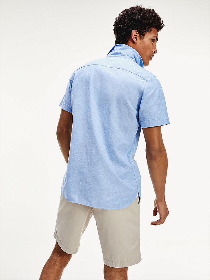 Camicia in misto lino a maniche corte | BLUE | Tommy Hilfiger