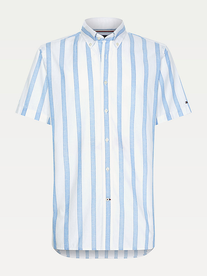 blue stripe short sleeve slim fit shirt for men tommy hilfiger
