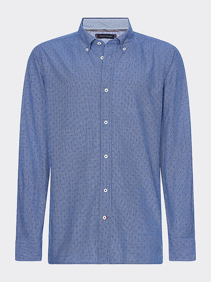blue micro check print shirt for men tommy hilfiger
