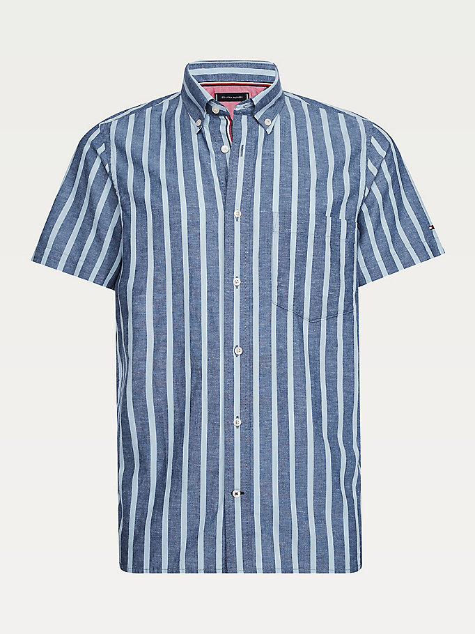 blue short sleeve slim fit shirt for men tommy hilfiger