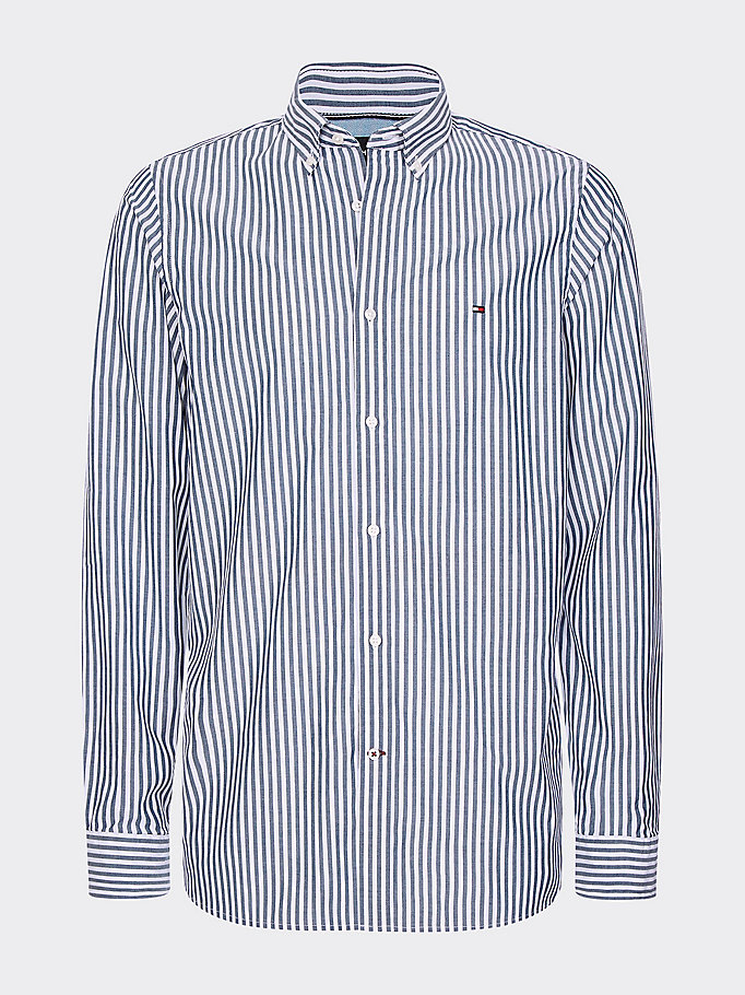 blue stripe soft touch slim fit shirt for men tommy hilfiger