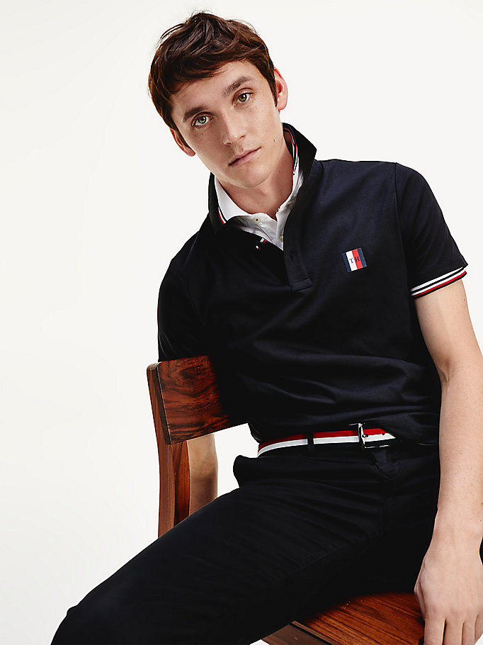black pure cotton slim fit polo for men tommy hilfiger
