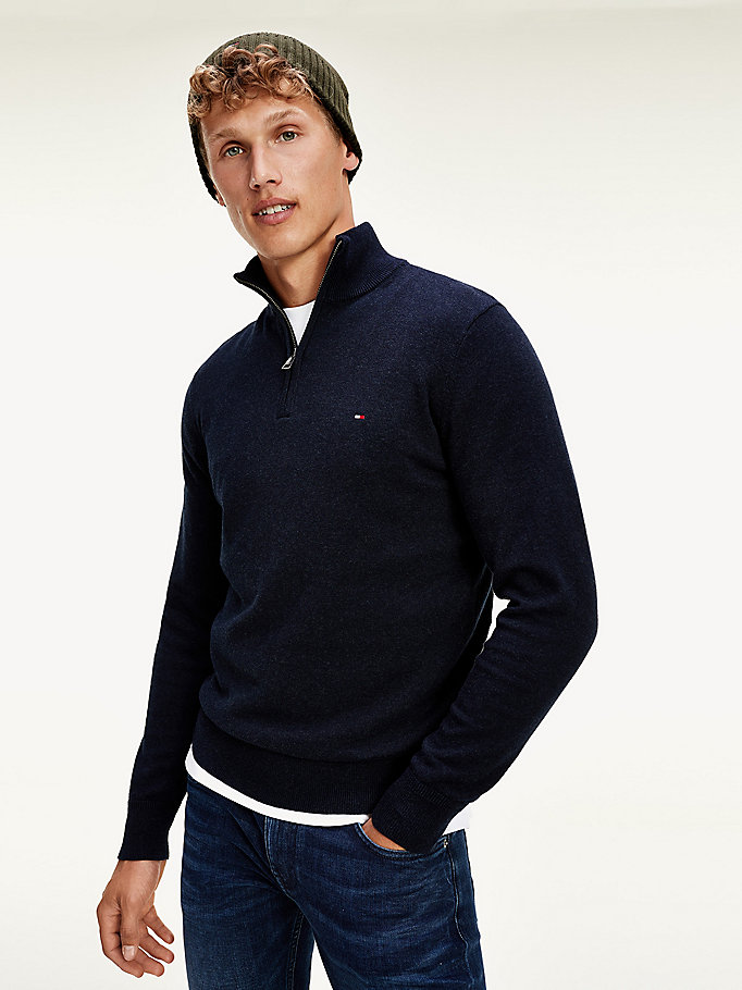 black pima cotton cashmere mock turtleneck jumper for men tommy hilfiger
