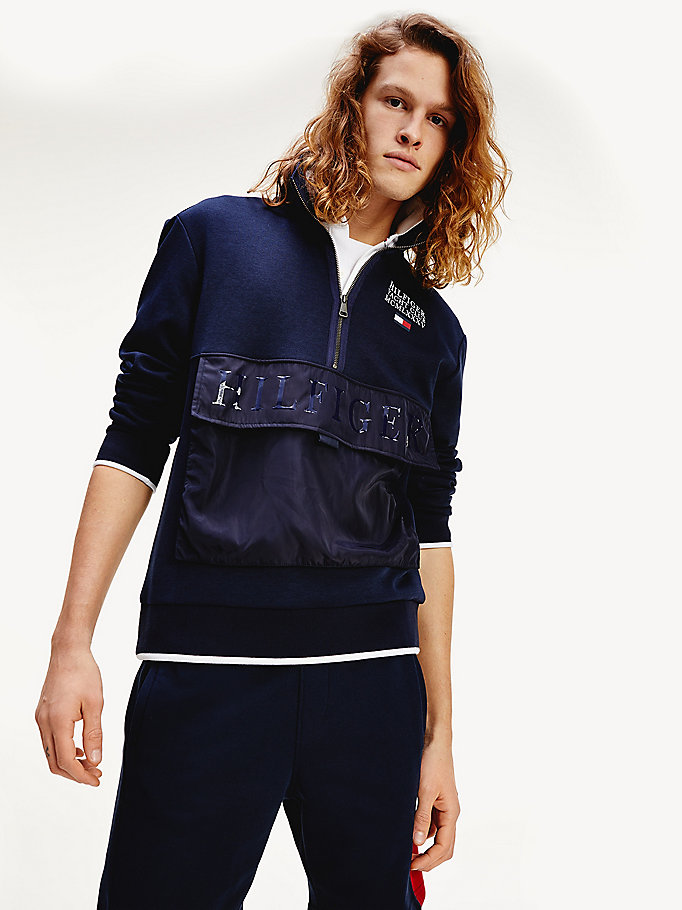 blue th flex half zip sweatshirt for men tommy hilfiger