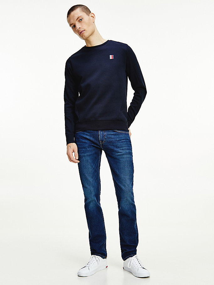 blue essential crew neck sweatshirt for men tommy hilfiger