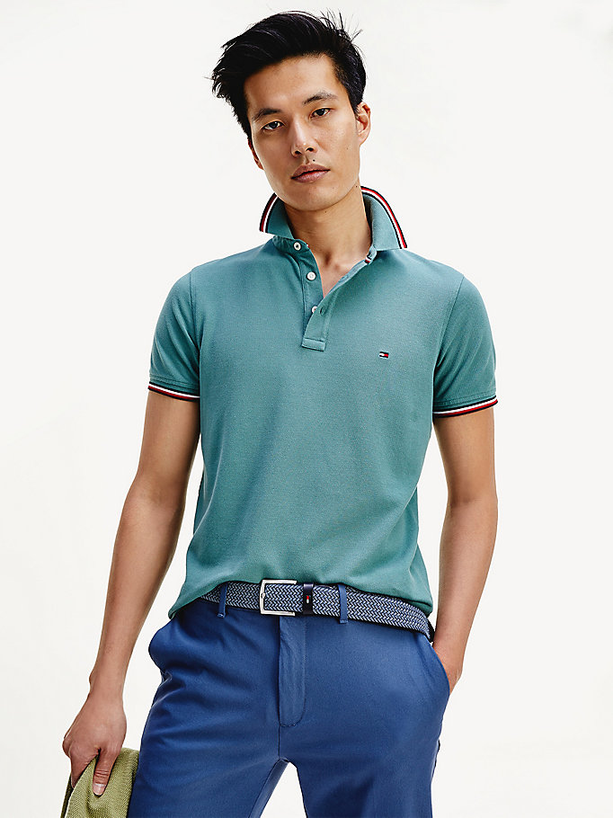 green organic cotton slim fit polo for men tommy hilfiger