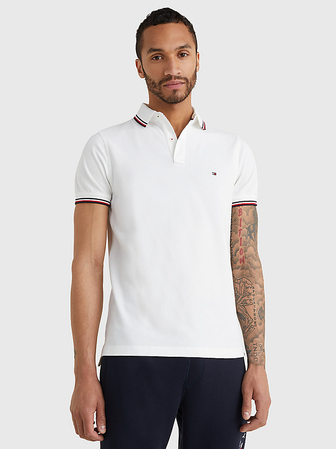 white organic cotton slim fit polo for men tommy hilfiger