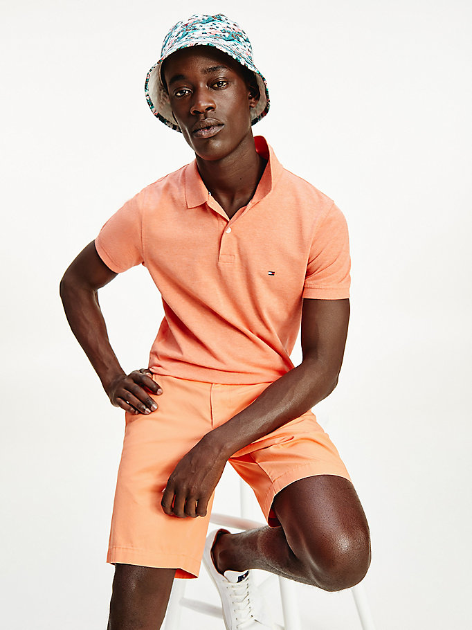 orange cotton pique slim fit polo for men tommy hilfiger
