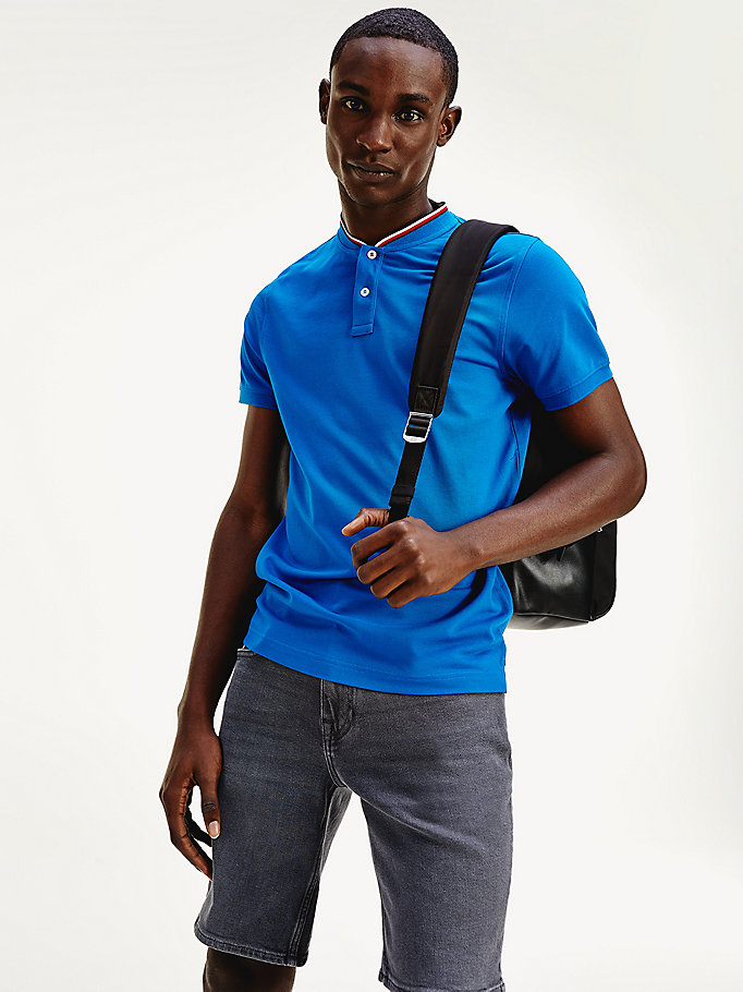 blue baseball collar slim fit polo for men tommy hilfiger