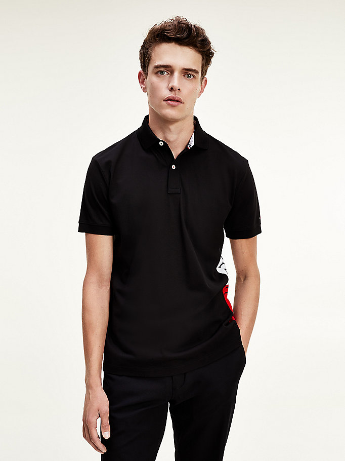 zwart regular fit polo met logo voor men - tommy hilfiger