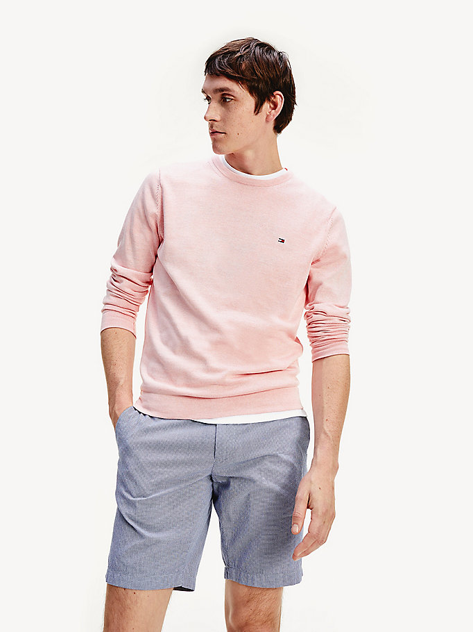 orange pure organic cotton crew neck jumper for men tommy hilfiger